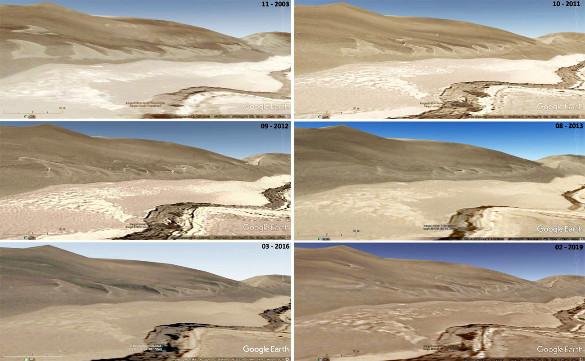 Montage de six vues montrant l'évolution de la zone à barkhanes des images précédentes entre 2003 et 2019