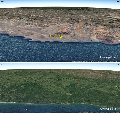 Montage de 2 vues aériennes montrant en haut la côte pacifique à 15° de latitude Sud au Pérou, et, en bas, la côte atlantique à la même latitude au Brésil