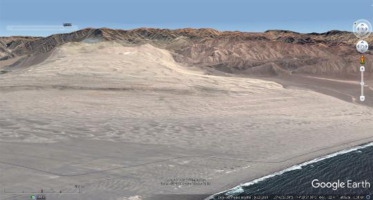 Vue aérienne globale du champ de dunes des trois images précédentes