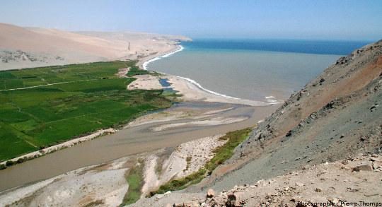 Estuaire du rio Ocoña se jetant dans le Pacifique
