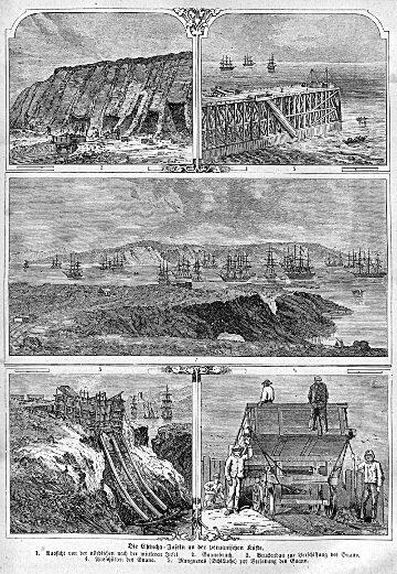 Gravure de 1863 illustrant l'exploitation du guano