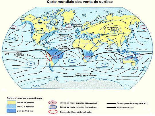 Carte des vents mondiaux
