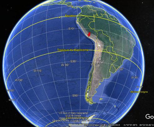 Localisation des iles Ballestas au large du désert péruvien