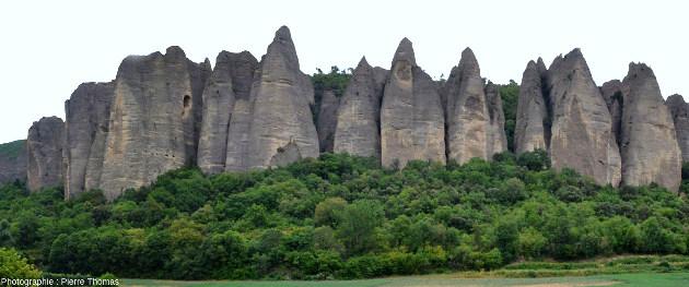 Les Pénitents des Mées (Alpes de Haute Provence) forment une falaise constituée d'un alignement de piliers coniques ou de lames taillés par l'érosion dans une épaisse couche de conglomérats (et plus précisément de poudingues) d'âge mio-pliocène