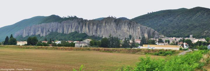 Vue globale sur le principal ensemble des Pénitents des Mées (Alpes de Haute Provence), qui forme une falaise constituée d'un alignement de piliers coniques et de lames taillés par l'érosion dans une épaisse couche de conglomérats (et plus précisément de poudingues) d'âge mio-pliocène