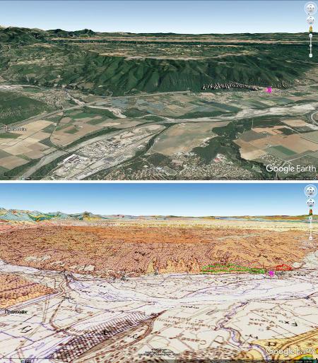 Vue aérienne du secteur des Mées (croix violette) et projection géologique correspondante