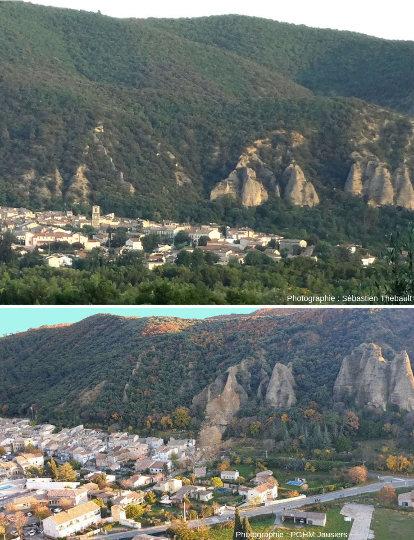 Montage de 2 photos prises avant (en haut) et après (en bas) l'éboulement du 2 décembre 2019, Les Mées, Alpes de Haute Provence