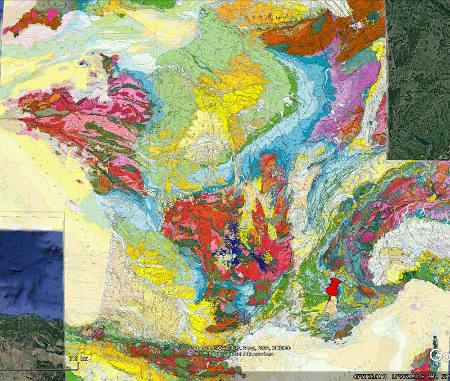 Localisation des Pénitents des Mées (punaise rouge) et du plateau de Valensole sur une carte géologique de France au millionième
