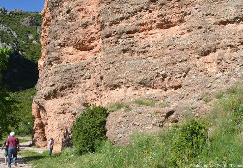 Parois conglomératiques du mallos principal juste au Nord du village de Riglos, Aragon, Espagne