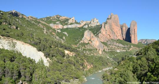 Panorama (pris depuis le Nord-Ouest) sur le contact entre les Mallos de Riglos (tiers droit de l'image) et la zone plissée (deux-tiers gauche de l'image)