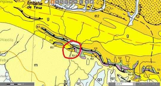 Extrait de la carte géologique de France au 1/1000000 (les Mallos de Riglos, bien qu'en Espagne, sont suffisamment proches de la frontière pour être sur cette carte du BRGM) montrant la position des Mallos de Riglos (cercle rouge)