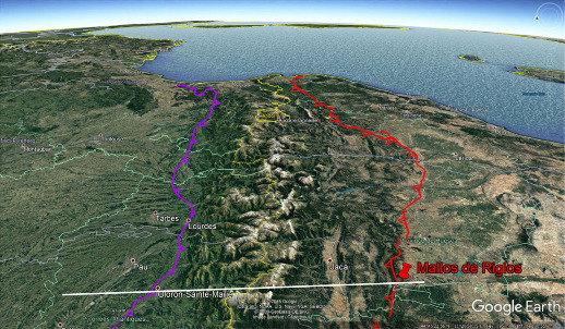 Vue aérienne des deux tiers Est des Pyrénées