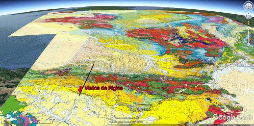 Carte géologique de la France localisant les Mallos de Riglos au front Sud des Pyrénées aragonaises