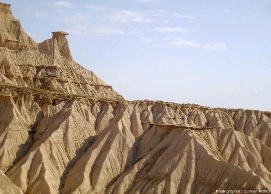 Figures d'érosion dans des argiles miocènes (−20 à −10 Ma) dans les Bardenas Reales, au pied méridional des Pyrénées en Navarre espagnole