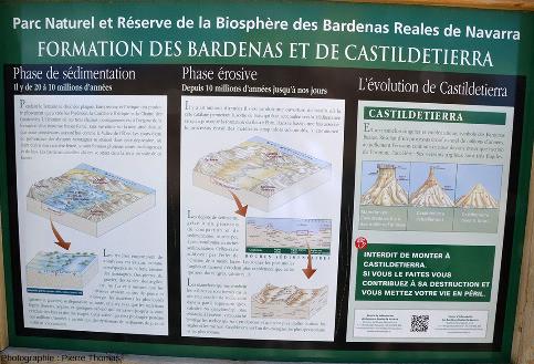 Un panneau expliquant la géologie, situé au pied du Castildetierra, Bardenas Reales