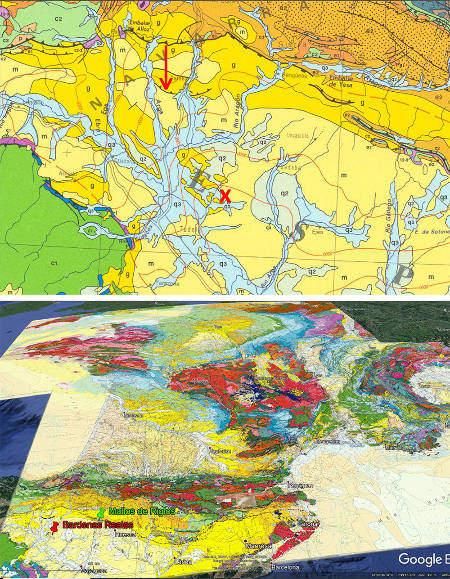 Localisation des Bardenas Reales sur fond de carte géologique de la France