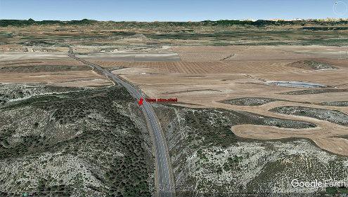 Vue aérienne sur la tranchée de la RN121, 60km au Sud de Pampelune