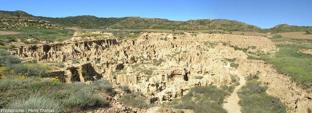 Vue d'ensemble sur les Aguarales de Valpalmas, province de Saragosse, Aragon, Espagne