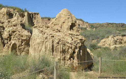 Couche argilo-gréseuse recouvrant en biseau des couches argileuses, Los Aguarales de Valpalmas