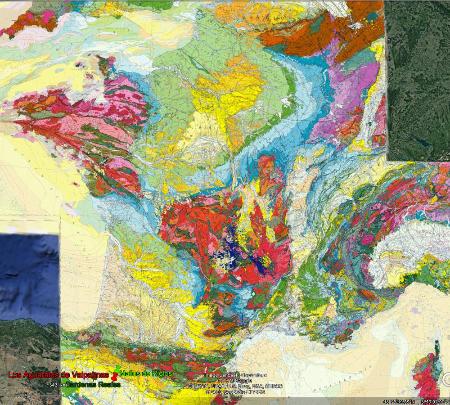 Localisation des Aguarales de Valpalmas (punaise rouge) sur la carte géologique de la France au 1/1000000