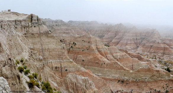 Les Badlands sous la brume, Dakota du Sud, USA