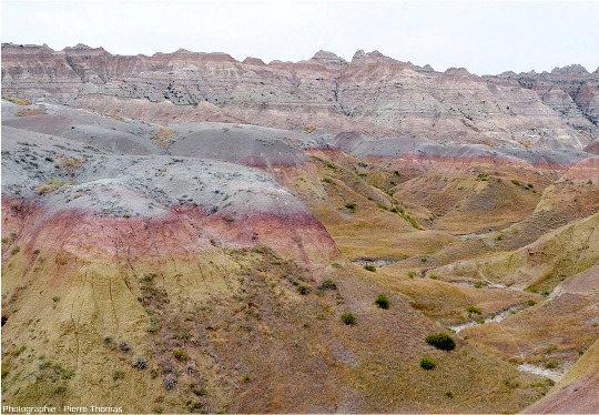 Gros plan sur la limite entre les Yellows Mountset leurs argiles jaunes chapeautées de rouge, âgées de 67Ma, et les argiles grises de la Chadron Formation (37 à 34Ma), Parc national des Badlands, Dakota du Sud