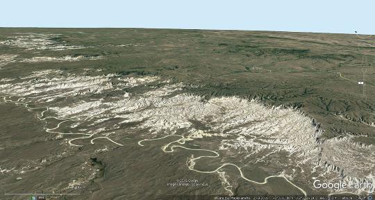 Vue aérienne d'un secteur du Parc national des Badlands (Dakota du Sud, USA)