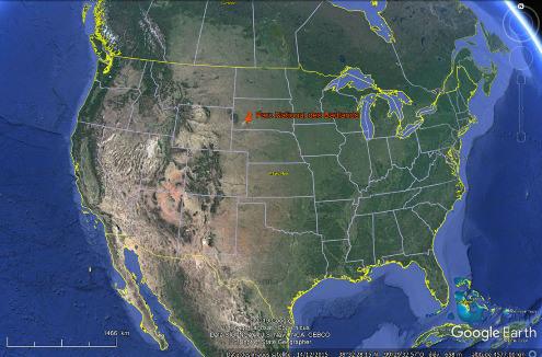 Localisation du Parc national des Badlands (punaise rouge), Dakota du Sud (USA)
