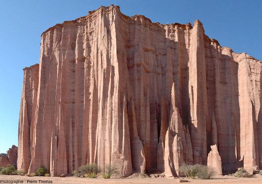 La Cathédrale, la plus célèbre des falaises du canyon du rio de Talampaya (rio presque toujours à sec), dans le parc national du même nom, province de La Rioja, Argentine