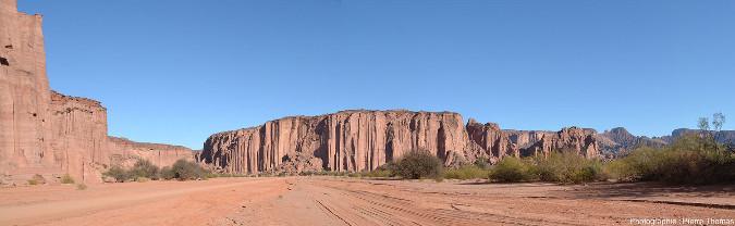 Vue d'ensemble de la falaise de la rive droite quelques centaines de mètres en aval de la Cathédrale, Parc national de Talampaya (Argentine)