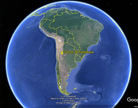 Localisation du canyon de Talampaya au Nord-Ouest de l'Argentine, sur le versant oriental de la Cordillère des Andes