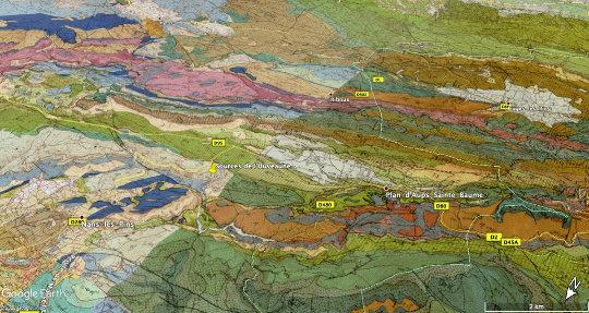 Localisation des sources de l'Huveaune sur la carte géologique de Cuers au 1/50000