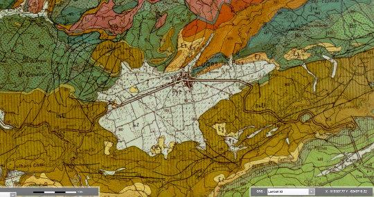 Extrait de la carte géologique d'Aubagne-Marseille au 1/50000 centré sur le poljé de Cuges-les-Pins
