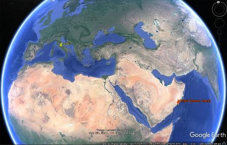 Localisation du Wadi Darbat en Oman et de Tivioli en Italie