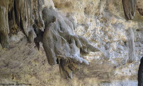 Vue de détail de l'une des stalactites penchées de la figure précédente, vallée du Wadi Darbat (Oman)