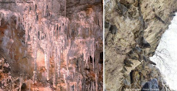 """Comparaison entre des stalactites """"normales"""" (verticales) photographiées dans la grotte de Clamouse (Hérault) et obliques, en Oman"""