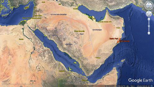 Localisation du Wadi Darbat et d'Hasik Park sur la côte Sud-Est de la péninsule arabique
