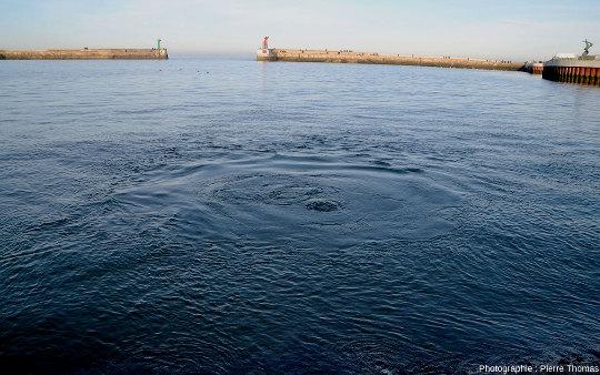 Remous dans les eaux du port de Port-en-Bessin (Calvados), remous causés par une résurgence sous-marine ressortant sous pression au fond du port à travers les couches de calcaires du Jurassique moyen