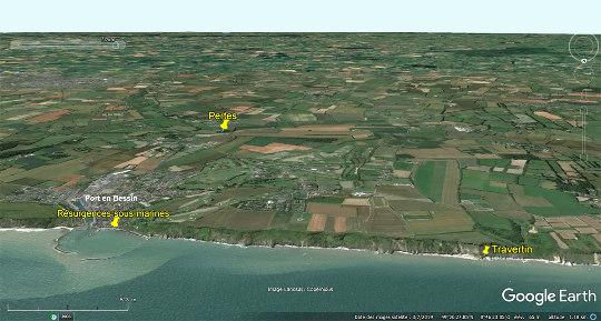 Vue aérienne du secteur de Port-en-Bessin (Calvados)