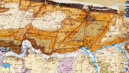 Carte géologique du secteur de Port-en-Bessin (Calvados)