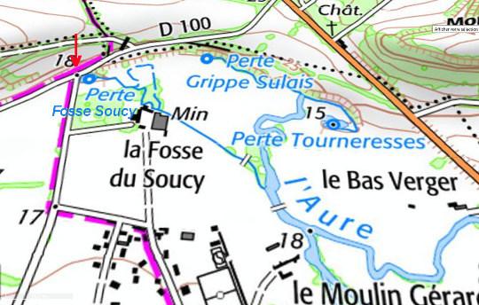 Carte topographique montrant un détail des pertes de l'Aure (Calvados)