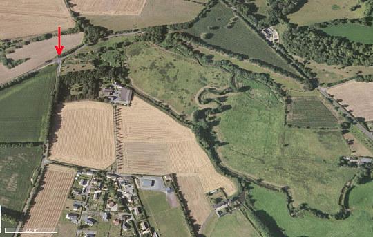 Photographie aérienne montrant un détail des pertes de l'Aure (Calvados)