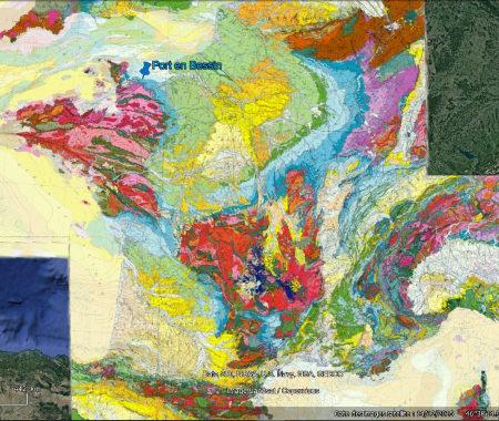 Localisation de Port-en-Bessin (Calvados) sur la carte géologique de France