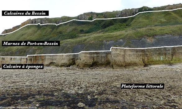 Vue interprétée sur les falaises de Sainte Honorine-des-Pertes, commune de Port-en-Bessin, Calvados