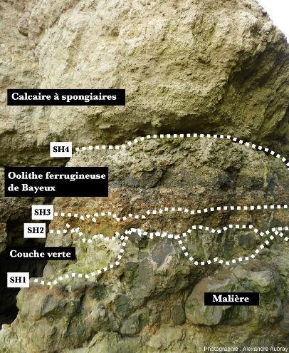 Détail de la base de l'aiguille des Hachettes montrant la limite approximative entre l'Aalénien et le Bajocien