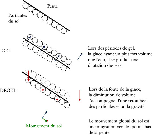 Schéma expliquant la reptation des sols lors de alternances gel-dégel
