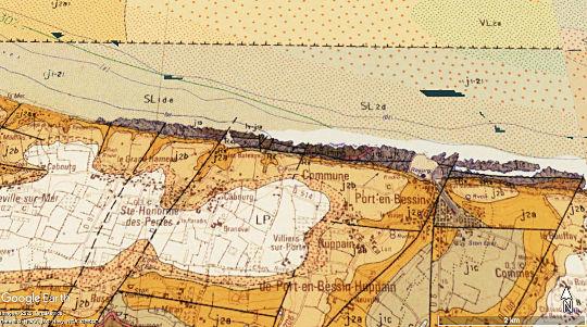 Faille des Hachettes sur la carte de Grandcamp-Maisy au 1/50000