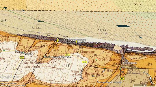 Localisation des affleurements: plage et aiguille des Hachettes