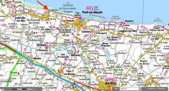 Localisation de l'accès à la plage de Sainte-Honorine-des-Pertes, Port-en-Bessin (Calvados)
