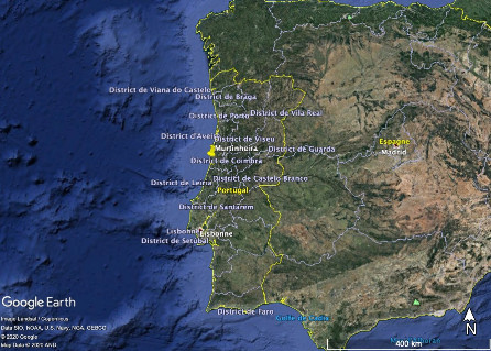 Localisation du stratotype de la base du Bajocien à Murtinheira au Portugal